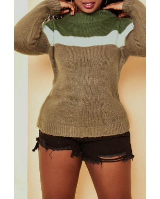 Lovely Casual Color-lump Patchwork Khaki Sweater