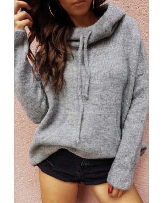 Lovely Casual Hooded Collar Grey Sweater