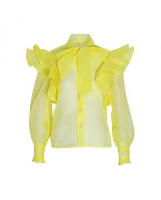Lovely Sweet Flounce Design Yellow Blouse