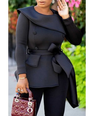 Lovely Casual Asymmetrical Black Blouse