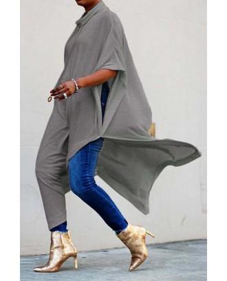 Lovely Work Side Slit Grey Blouse