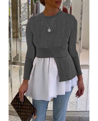 Lovely Casual O Neck Patchwork Silver Grey Blouse