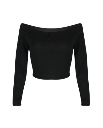 Lovely Casual Dew Shoulder Black T-shirt