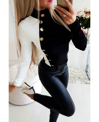 Lovely Casual Patchwork Black And White T-shirt