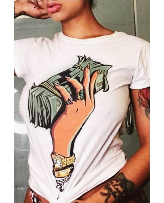 LovelyCasual Round Neck Cartoon Printed White Polyester T-shirt