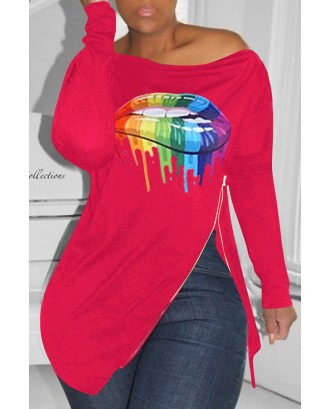 Lovely Casual Lip Printed Red T-shirt