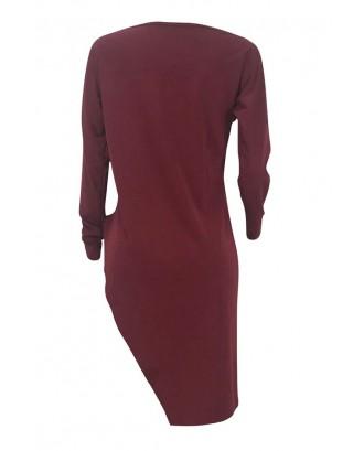 Lovely Casual Asymmetrical Wine Red Blending T-shirt