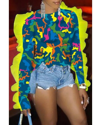 Lovely Casual Patchwork Camouflage Printed T-shirt