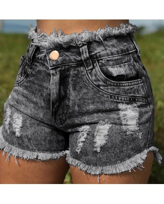 Lovely Casual High Waist Tassel Design Black Jeans