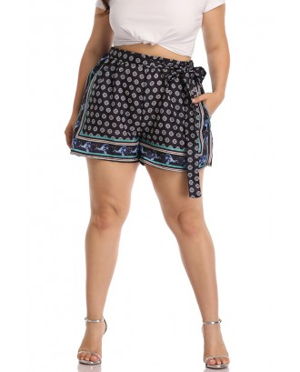 Lovely Casual Printed Blue Shorts