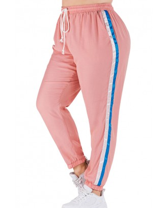 Lovely Casual Patchwork Pink Plus Size Pants