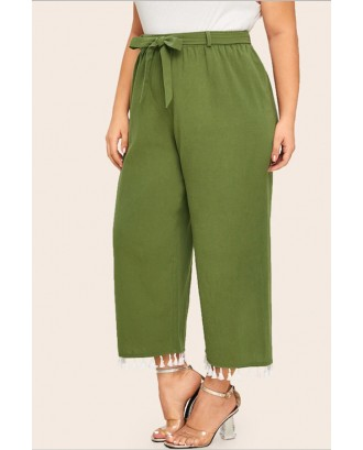 Lovely Casual Tassel Design Green Plus Size Pants