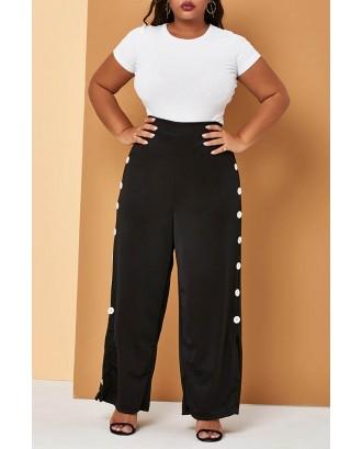 Lovely Casual Buttons Design Black Plus Size Pants