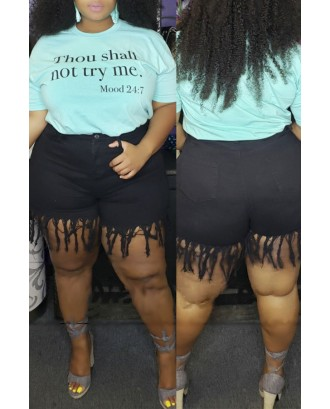 Lovely Casual Tassel Design Black Plus Size Shorts