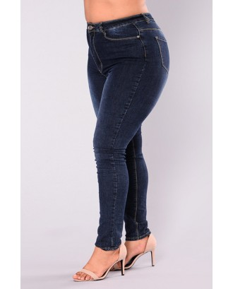 Lovely Casual Deep Blue Plus Size Jeans