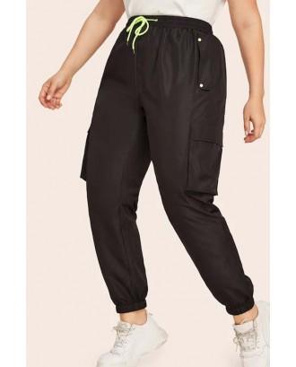 Lovely Casual Pockets Design Black Plus Size Pants