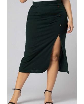 Lovely Casual Asymmetrical Blackish Green Plus Size Skirt
