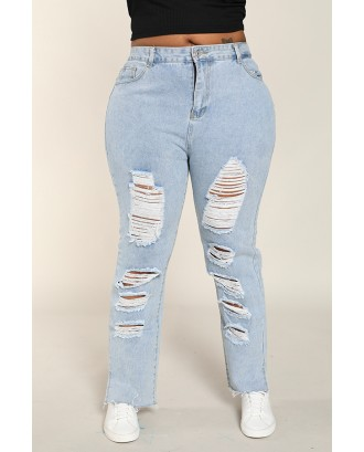 Lovely Casual Broken Holes Baby Blue Plus Size Jeans