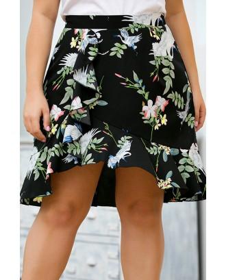 Lovely Bohemian Printed Asymmetrical Black Plus Size Skirt