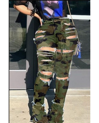 Lovely Casual Broken Holes Camouflage Printed Pants
