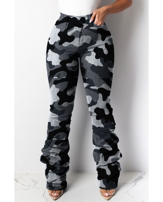 Lovely Casual Camouflage Printed Grey Pants