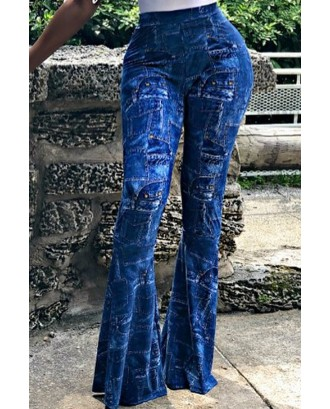 Lovely Casual Printed Blue Pants