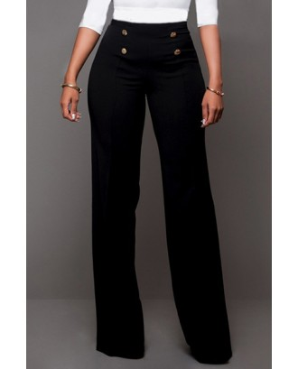 LovelyTrendy High Waist Double-breasted Decorative Black Polyester Pants