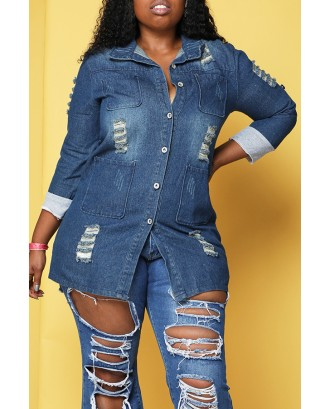 Lovely Casual Turndown Collar Blue Plus Size Coat