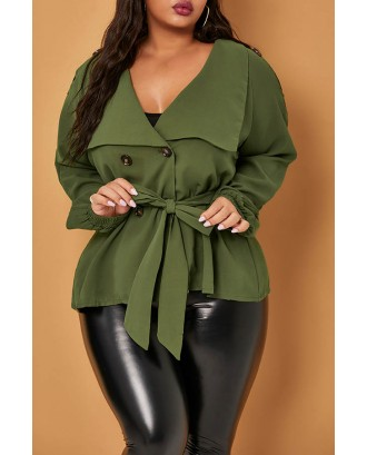 Lovely Casual Buttons Design Green Plus Size Coat