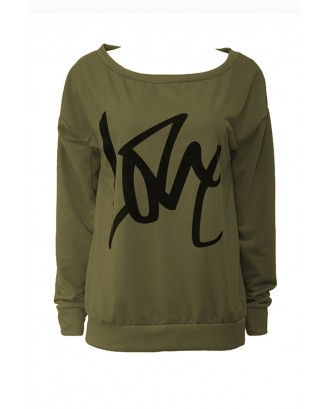 Lovely Leisure Round Neck Long Sleeves Letters Printing Army Green Sweatshirt Hoodie