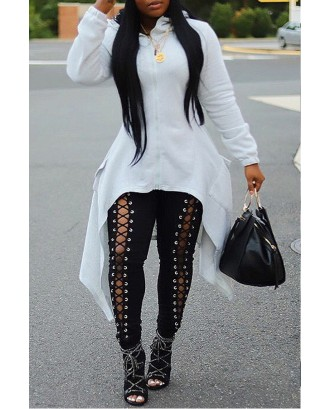 Lovely Casual Asymmetrical White Hoodie