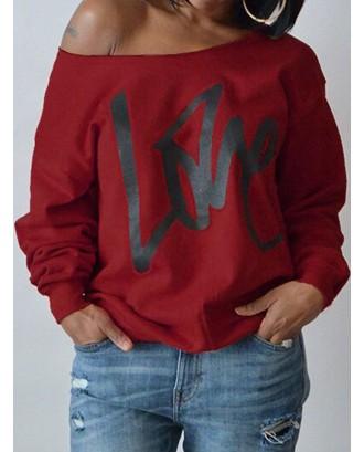Lovely Leisure Round Neck Long Sleeves Letters Printing Purplish Red Sweatshirt Hoodie