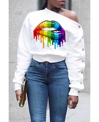 Lovely Casual Lip Printed White Sweatshirt Hoodie