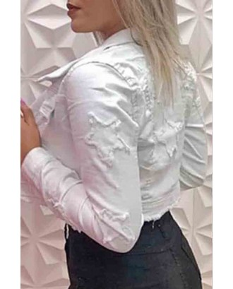 Lovely Casual Crop Top White Coat