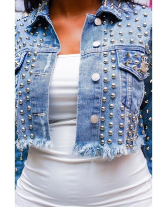 Lovely Casual Nail Bead Design Baby Blue Coat