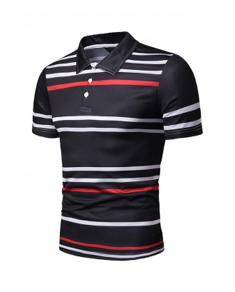 Lovely Casual Printed Black Polo Shirts