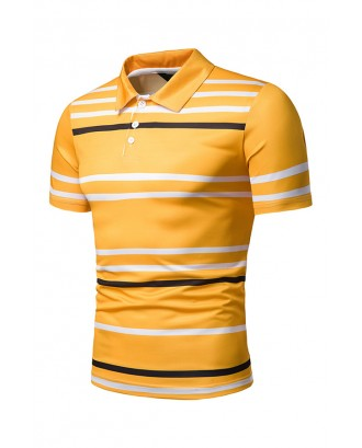 Lovely Casual Printed Yellow Polo Shirts