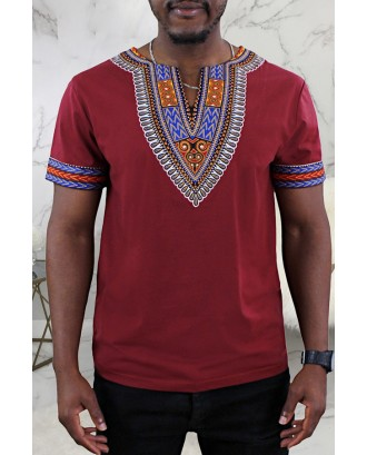 Lovely Casual Patchwork Wine Red T-shirt