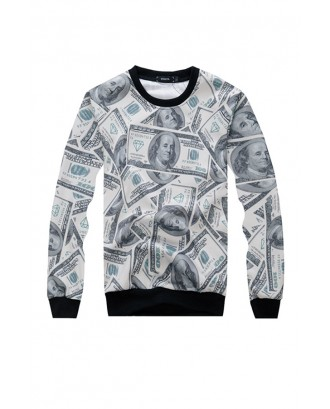 Lovely Casual Dollar Bill Printed Beige Hoodie