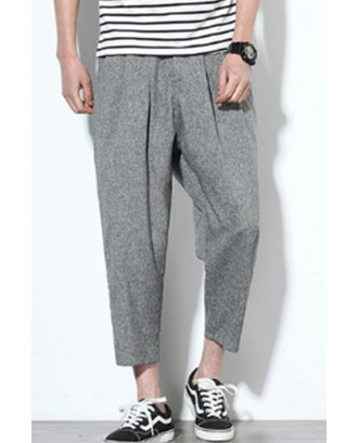 Lovely Casual Mid Waist Grey Loose Pants