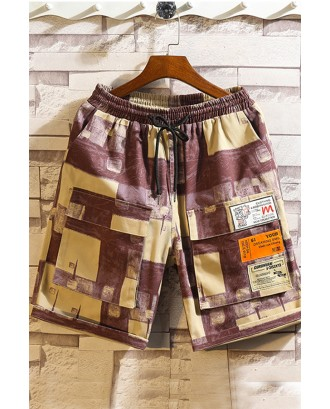 Lovely Casual Patchwork Printed Wine Red Shorts