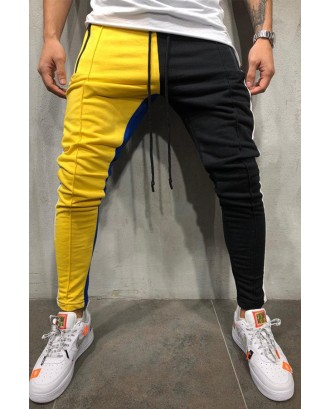 Lovely Street Color-lump Patchwork Yellow Pants