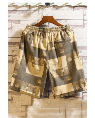 Lovely Casual Patchwork Printed Yellow Shorts