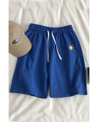 Lovely Casual Embroidered Design Blue Shorts