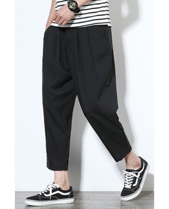 Lovely Casual Mid Waist Black Loose Pants