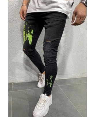 Lovely Casual Broken Holes Green Jeans
