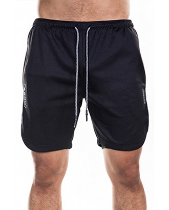 Lovely Sportswear Drawstring Black Shorts