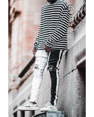 Lovely Street Patchwork Black And White Jeans