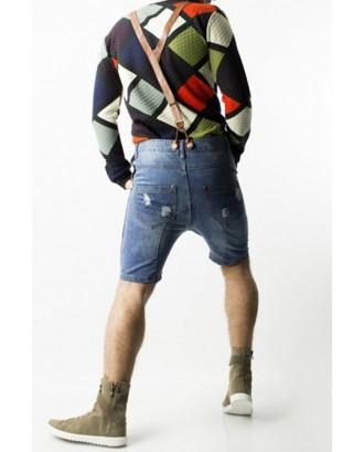 Lovely Casual Zipper Design Blue Shorts