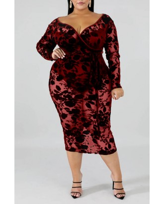 Lovely Beautiful V Neck Hollow-out Wine Red Mid Calf Plus Size Dress